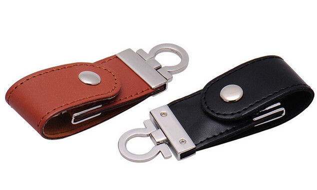 Leather 2GB USB 2.0 Hi - Speed USB Flash Drive With Logo Printed